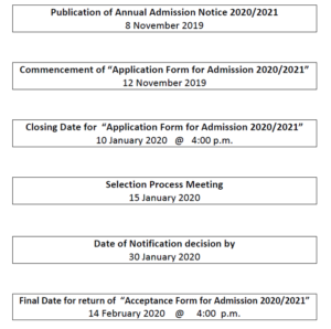 Timeline for admissions 2020/2021